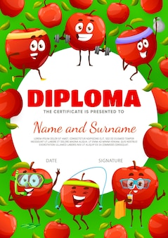 Kids diploma certificate with cartoon red apple characters on sport and leisure, vector. school appreciation award or kindergarten diploma with frame of cute apple fruit with gym barbell or snorkeling