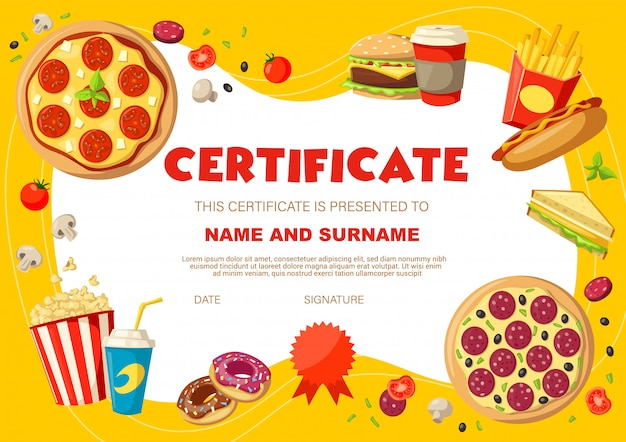Kids diploma certificate with snacks and drinks