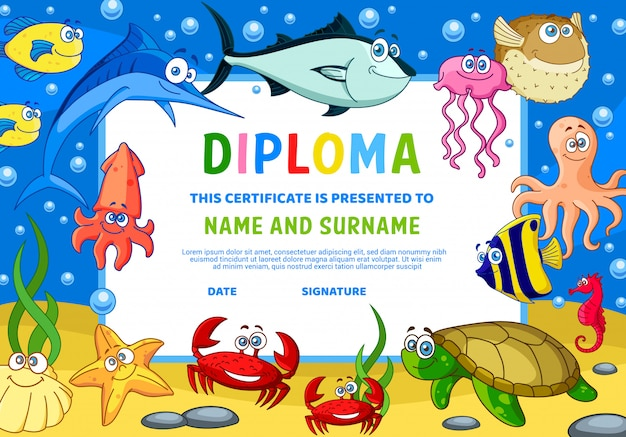 Kids diploma certificate with underwater animals