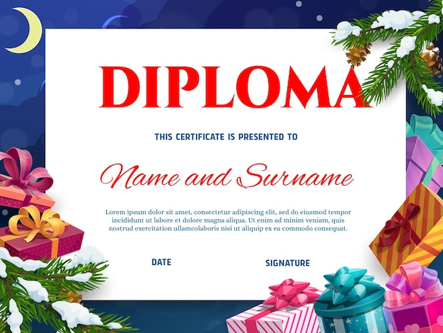 Kids diploma or christmas certificate template with gifts. wrapped in colorful paper, decorated ribbon presents boxes, christmas tree branch covered snow cartoon . school or kindergarten diploma