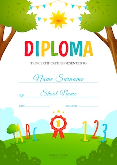 キッズ卒業証書デザインテンプレート。幼稚園の証明書。ベクトルイラスト