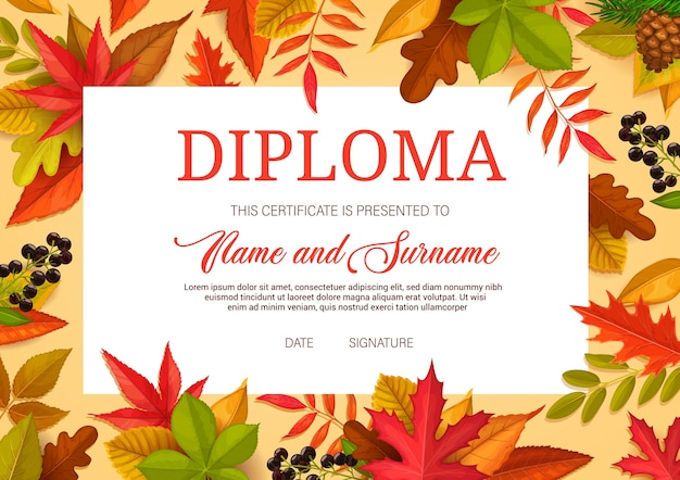 Kids diploma, educational certificate for school or kindergarten  template with autumn leaves. child award border  for graduation and education training, lessons achievement, participation