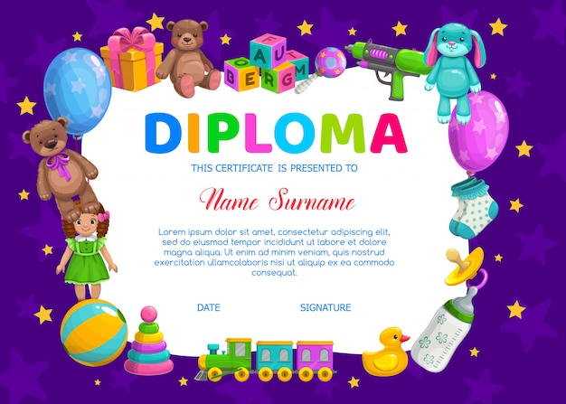 Kids diploma for kindergarten with  toys