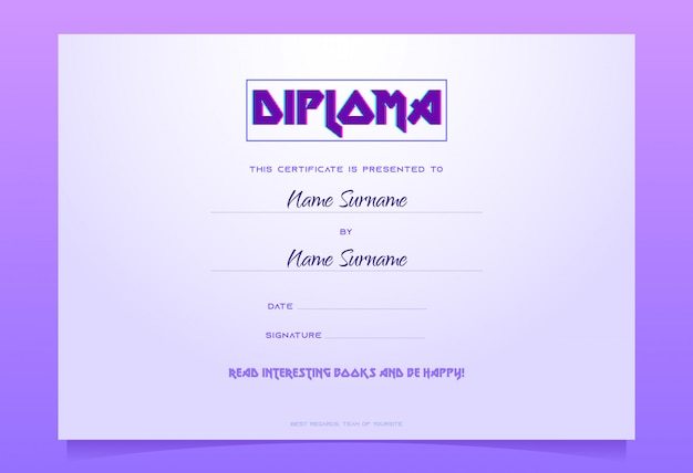 Kids diploma template, book gift certificate,