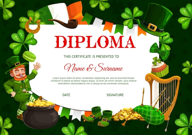 Kids diploma template, patricks day leprechaun, pot with gold coins and neck tie, celtic party frame template with shamrock. bagpipe, smoking pipe, and lucky horseshoe with cupcake certificate