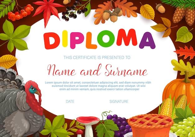 Kids diploma thanksgiving turkey, autumn harvest