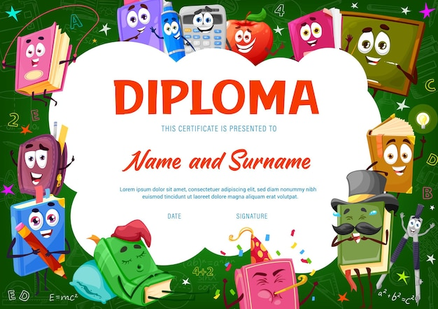 Kids diploma with books, textbooks funny character