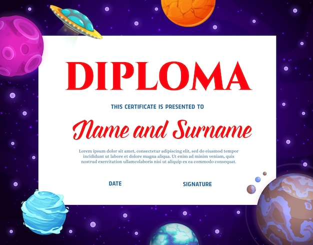 Kids diploma with cartoon space planets and ufo