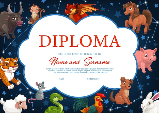 Kids diploma with chinese zodiac animals,  horoscope certificate. cartoon cock, dog and pig, rat, bull and tiger. hare, dragon or snake, horse, goat and ape, asian symbols of year frame template