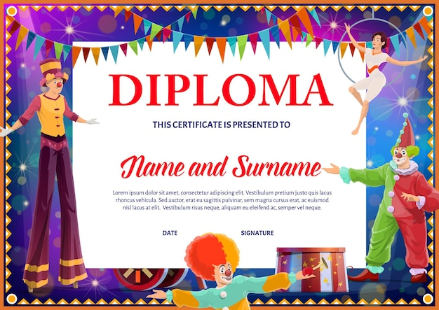 Kids diploma with circus clowns and gymnast for school or kindergarten