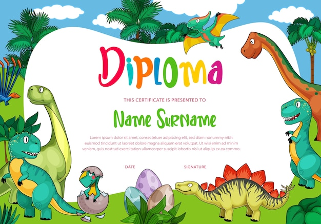 Kids diploma with  dinosaurs, cute  dragons, funny baby dino characters in eggs.