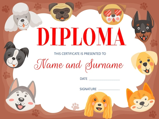 Kids diploma with funny dogs and puppies, certificate.