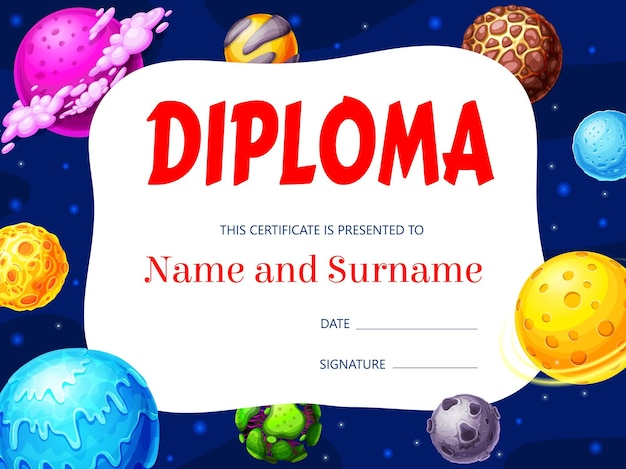 Kids diploma with galaxy space planets, award certificate. educational school or kindergarten frame with cartoon asteroids or fantasy planets and stars, graduation border template for children