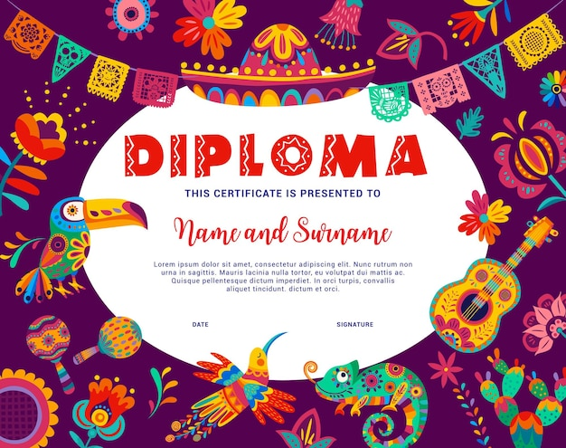 Kids diploma with mexican animals and flowers