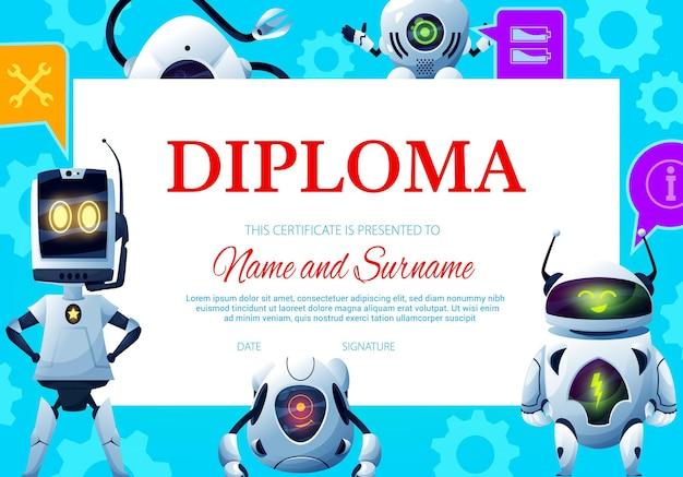 Kids diploma with robot droids and cartoon androids, certificate award Premium Vector