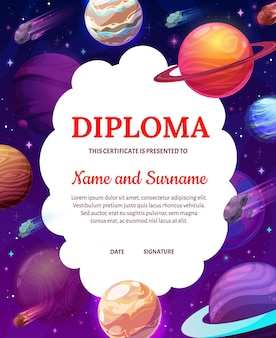 Kids diploma with space, cartoon planets in galaxy