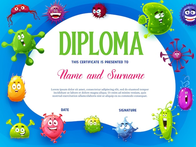 Kids diploma with viruses and microbes cartoon characters
