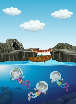 Дети, ныряющие под водой