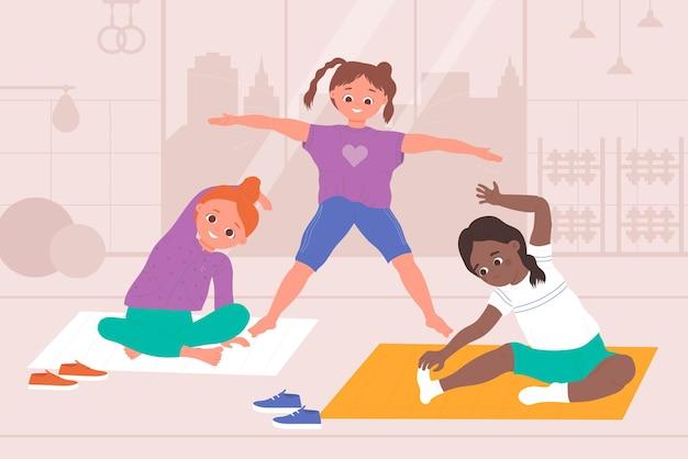 Дети занимаются йогой, здоровыми физическими видами спорта, упражнениями, гимнастикой, девушки, практикующими асаны