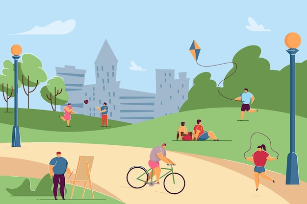 Kids doing different outdoor activities in park. people drawing, riding bike, playing volleyball, jumping rope, flying kite flat vector illustration. childrens camp, kinder garden, playground concept