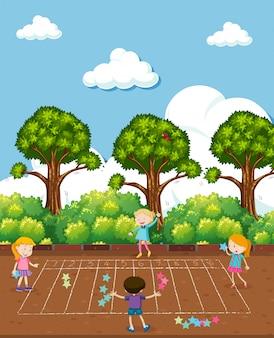 Kids doing math at playground