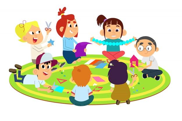 ペーパークラフトをする子供たち
