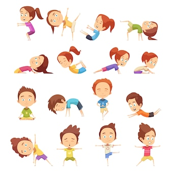 Kids doing yoga collection
