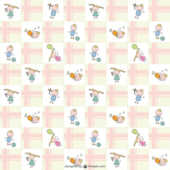 Kids doodle characters pattern