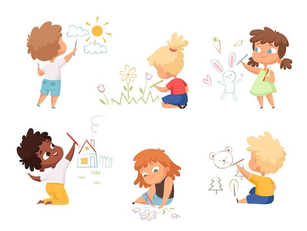 그리기 아이. 어린이 예술가 교육 재미 귀여운 어린이 소년과 소녀는 다른 그림 문자를 만듭니다. 그림 어린이 예술가 드로잉 화려한