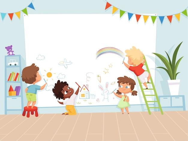 그림 그리기 아이. 창의력 어린 시절 그림의 어린이 배경에 대한 학교 교육 과정. 벽 그림에 자식 페인트 크레용