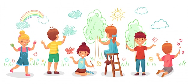 Kids drawing on wall. childrens group draw color paintings on walls, child paint art cartoon  illustration