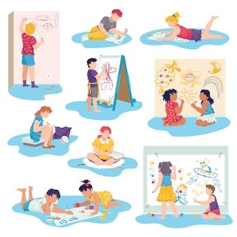 Детский рисунок с набором иллюстраций мелками. маленькие дети рисуют рисунки карандашами и красками, лежа на полу. малыш лежит на животе.