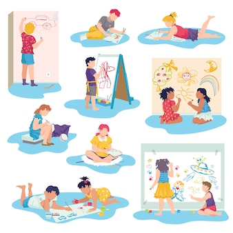 Kids drawing with crayons  illustrations set. little children draw pictures pencils and paints laying on floor. kid lying on her stomach.