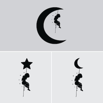 Kids dream hangs on the moon and stars