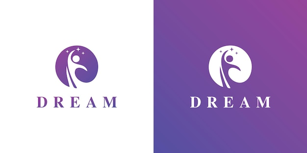 Kids dream 로고 개념 벡터 kids moon 로고 아이콘 어린이 및 나무 로고 기호