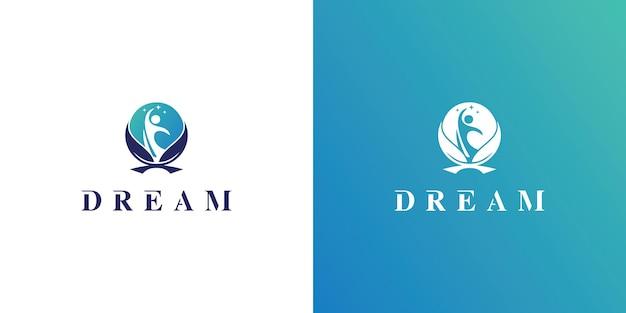Kids dream logo concept vector kids moon logo icon child and tree logo symbol
