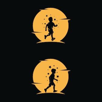 아이들의 꿈은 달 배경으로 별에 도달합니다.