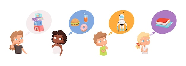 Kids dreaming. little boys girls thinking about gifts, robots toys food books. pensive children