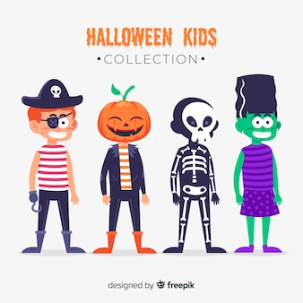 Kids dressed as monsters for halloween flat design