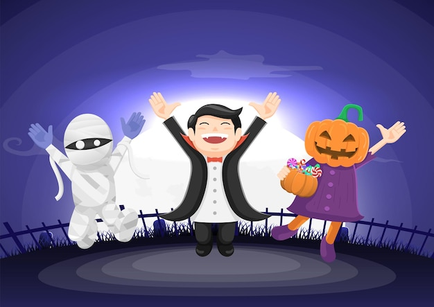 Kids dressed in halloween costume jumping and celebration with moonlight. happy halloween concept background.