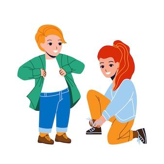 公園のベクトルを歩くためのカジュアルなドレスアップの子供たち。プレティーンの男の子はシャツを着せ、女の子は靴ひもを結び、散歩の準備をし、遊び場で遊んでいます。キャラクターフラット漫画イラスト