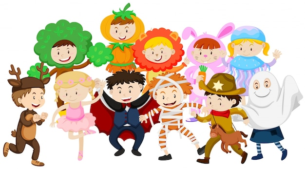 Kids dressing up in different costumes