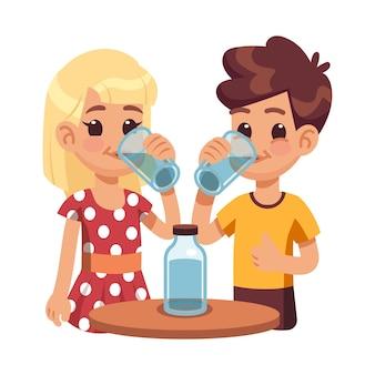 子供たちは水を飲みます。ガラスのコップを持つ子供、のどが渇いた男の子の女の子。かわいい幸せな子供の健康的なライフスタイル。漫画の兄弟姉妹とボトルのベクトルイラスト。清涼感のあるキャラクター