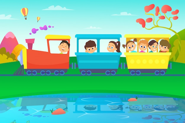 Kids driving a train in fairytale world