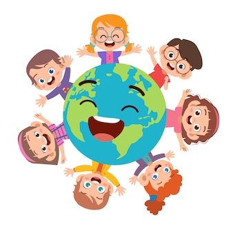 Kids earth day illustration
