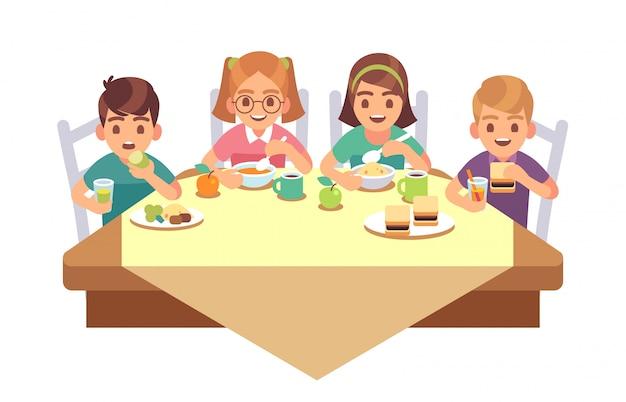 Kids eat together. children eating dinner cafe restaurant happy child breakfast lunch fast food dining friends cartoon concept