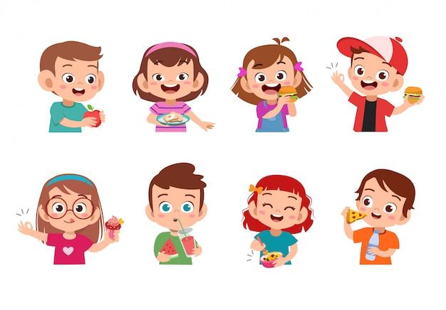 Kids eating food Premium Vector