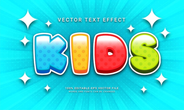 Kids editable text effect with multiple color theme