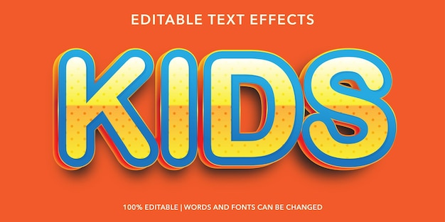 Kids editable text effect
