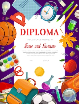 Kids education diploma certificate  template